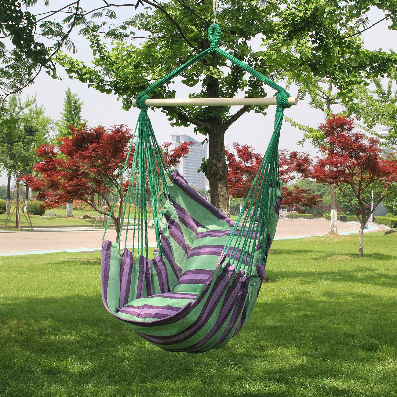 chair cotton seat hammock with p hanging sky blue outdoor armrests ft quilted straps and hammocks