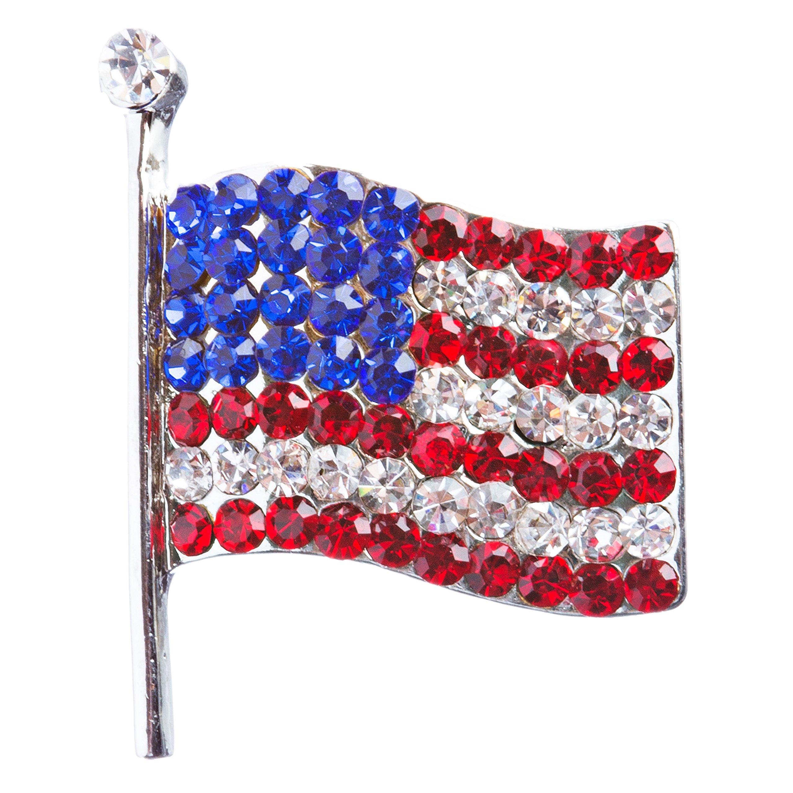 ACCESSORIESFOREVER Patriotic Jewelry American Flag Crystal Rhinestone Brooch Pin BH53 Silver