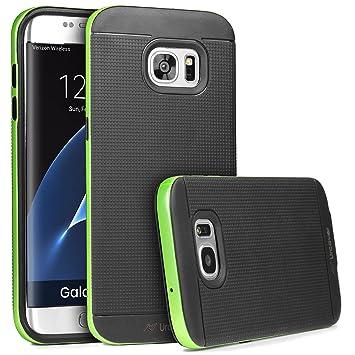 Urcover® Armor Case Neo Hybrid | Samsung Galaxy S7 Edge | Carcasa Antigolpes TPU + Bumper Silicona en Verde | Funda Antichoque Resistente Protectora