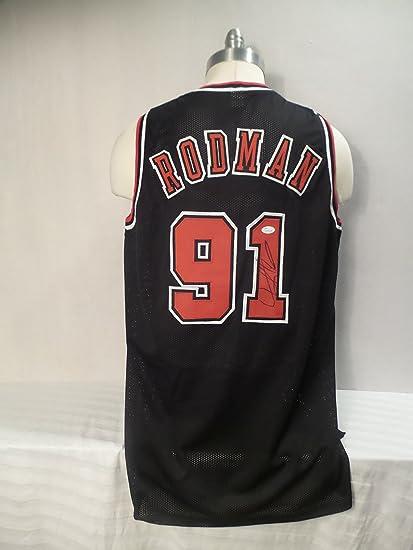 buy online 4fd14 d9554 Dennis Rodman Signed Chicago Bulls Black Autographed Custom ...