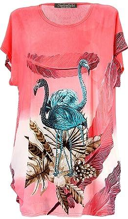 Charleselie94® - Tee Shirt drapé Strass Tunique Grande Taille Corail  CAMARGUE Corail be5c4a17bd2
