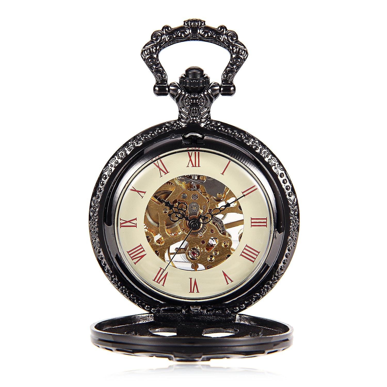 Amazon.com: Men Women Steampunk Skeleton Mechanical Black Skeleton Steampunk Retro Pendant Pocket Watch w/Chain reloj de bolsillo: Watches