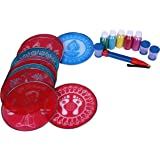 "Complete rangoli kit, includes 10 pcs 8 "" round stencils, 5 color bottles 100 gm each ,1 rangoli pen ,3 color fillers"