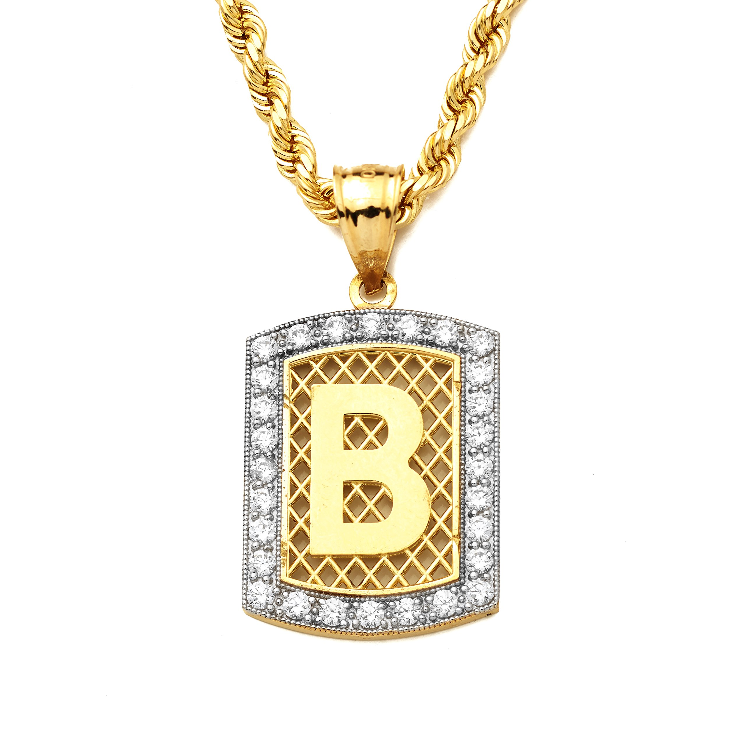 LoveBling 10K Yellow Gold Dog Tag Initials Charm Pendant w/ CZ Border (Available from A-Z) (B)