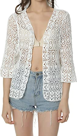 New Women Plus Size Cardigan Ladies Floral Lace Scallop Back Open Front Quality