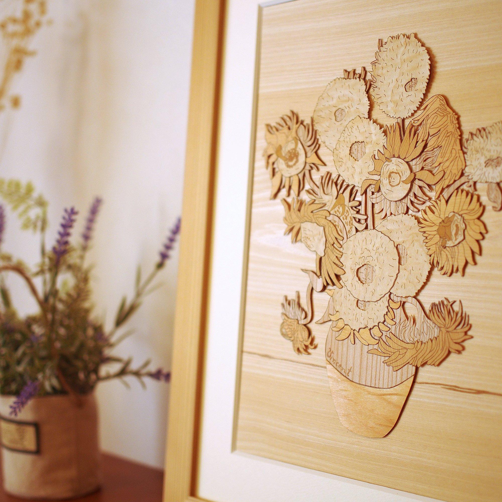 KINOWA Wooden Art Kit Kiharie Sunflowers Made in Japan by KINOWA (Image #7)