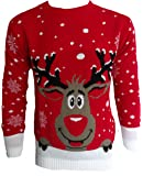 Pour Hommes Femmes 3D Rudolph Renne Elfe Noël Fantaisie Pull Top Tricoté, RED SMILING REINDEER, X-Large