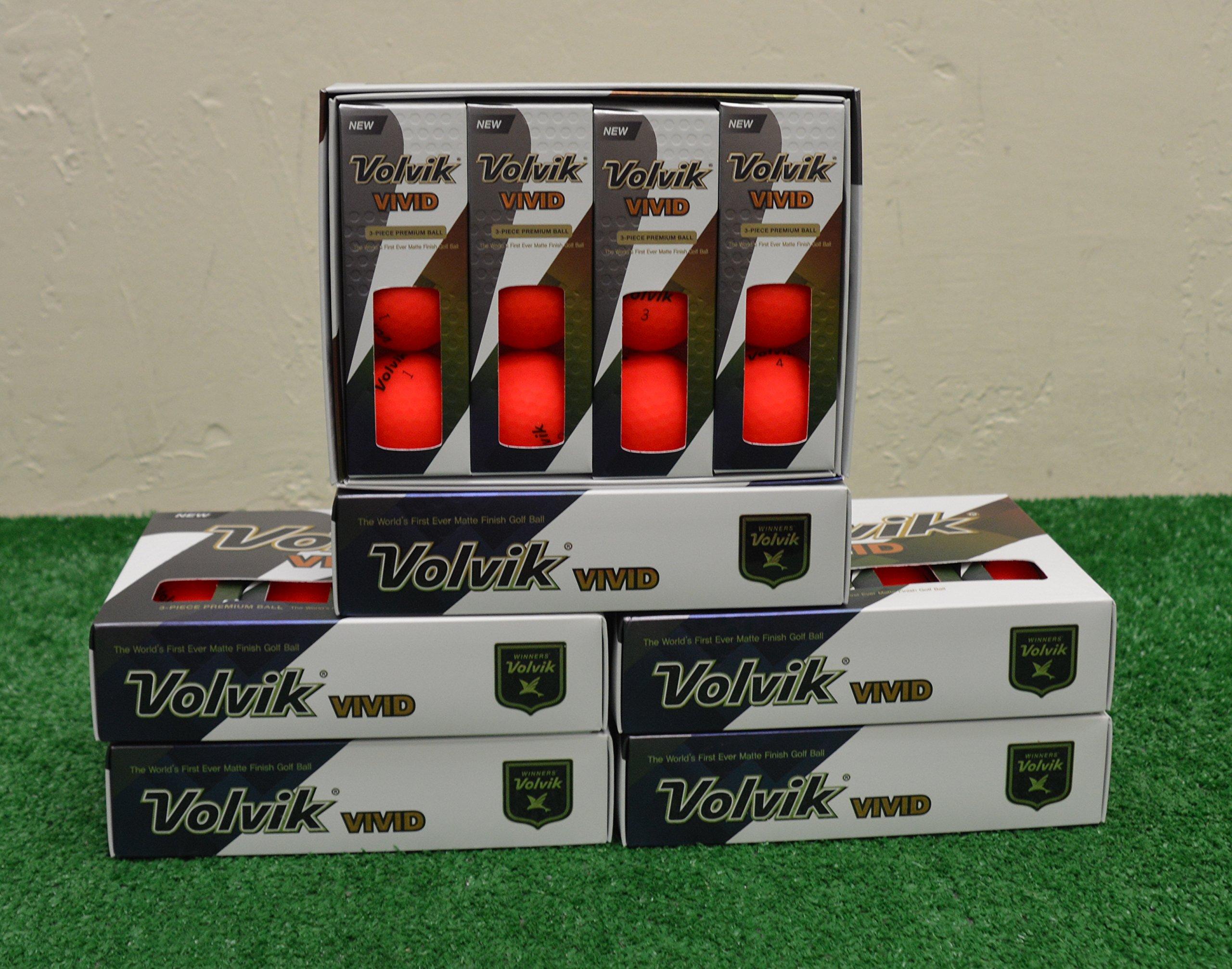 6 Dozen 2018 Volvik Vivid - Matte Red Golf Balls