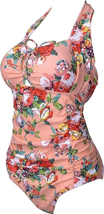 8dcfb3e7068 Women QZUnique Womens Retro Vintage One Piece Swimwear Floral Monokinis  Plus Size SH-6823