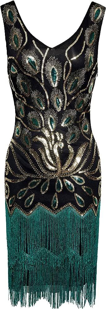 BABEYOND 1920s Fringed Sequin Dress 20s Peacock Dress Vintage Flapper Gatsby Costume Dress