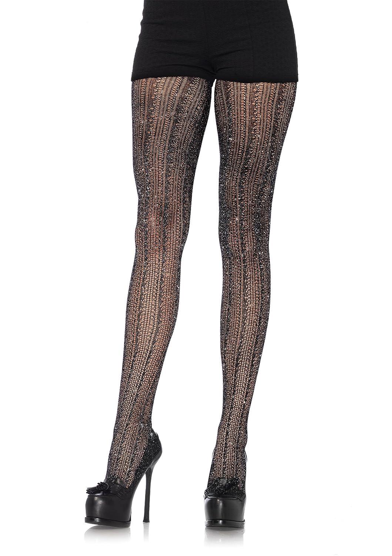 Amazon Leg Avenue Womens Crocheted Stripe Lurex Shimmer Tights