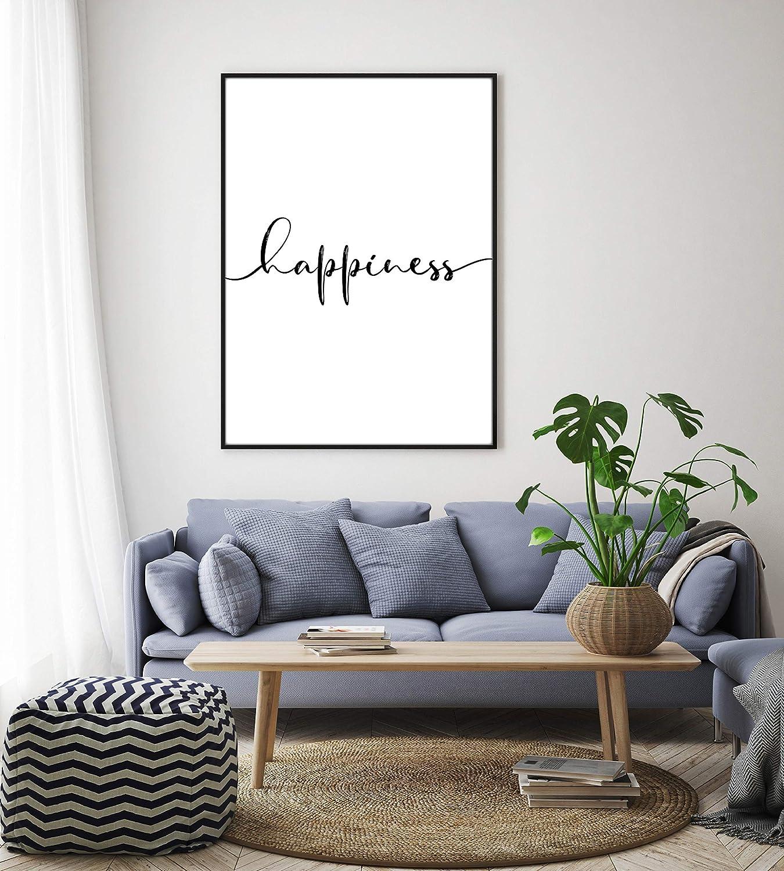 Kunstdruck DIN A4 Happiness ohne Rahmen Design Schwarz Wei/ß Print Plakat