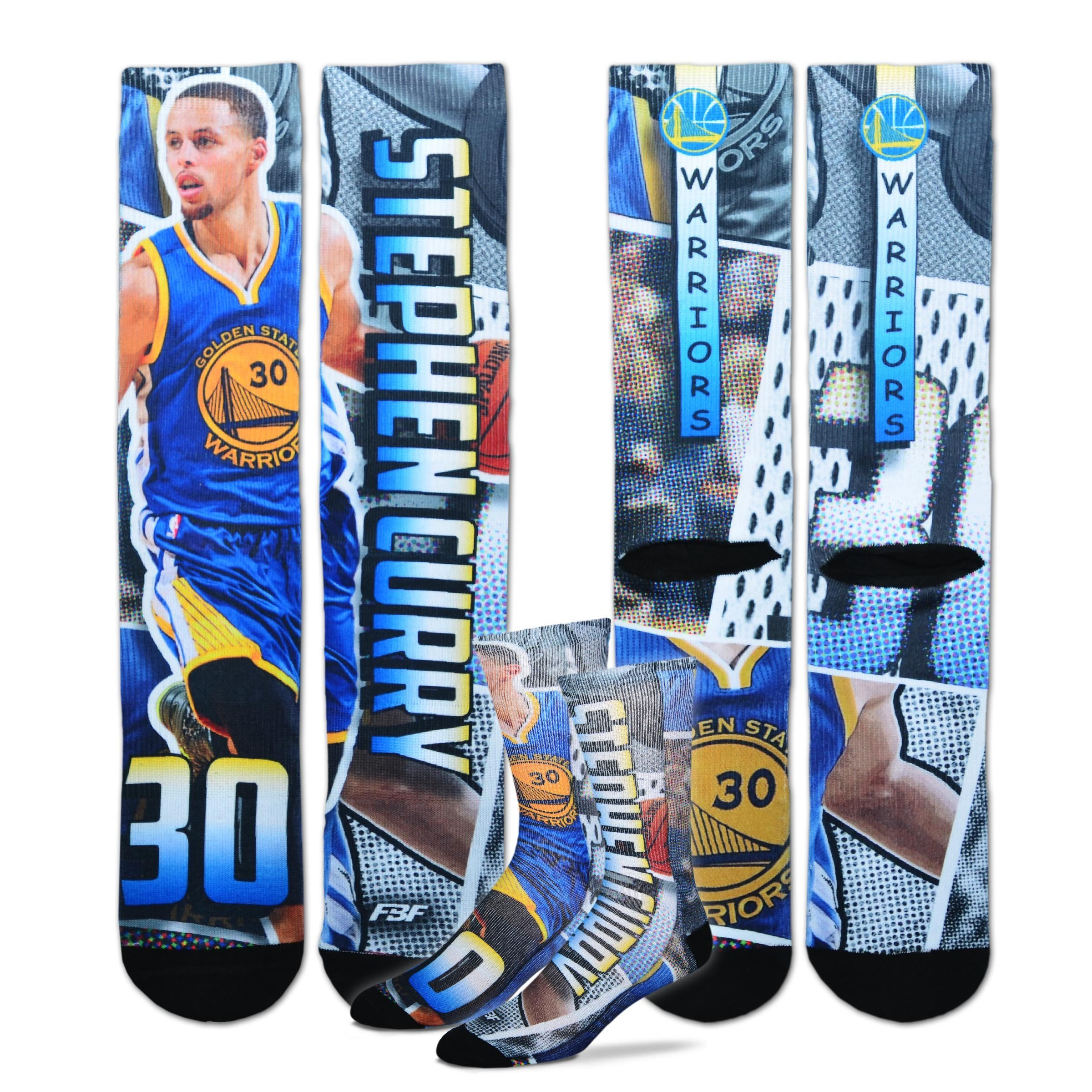 Golden State Warriors Youth Size Comic Book NBA Crew Kids Socks (4-8 YRS) 1 Pair - Stephen Curry