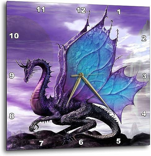 3dRose DPP_4145_3 Fairytale Dragon Wall Clock, 15 by 15-Inch