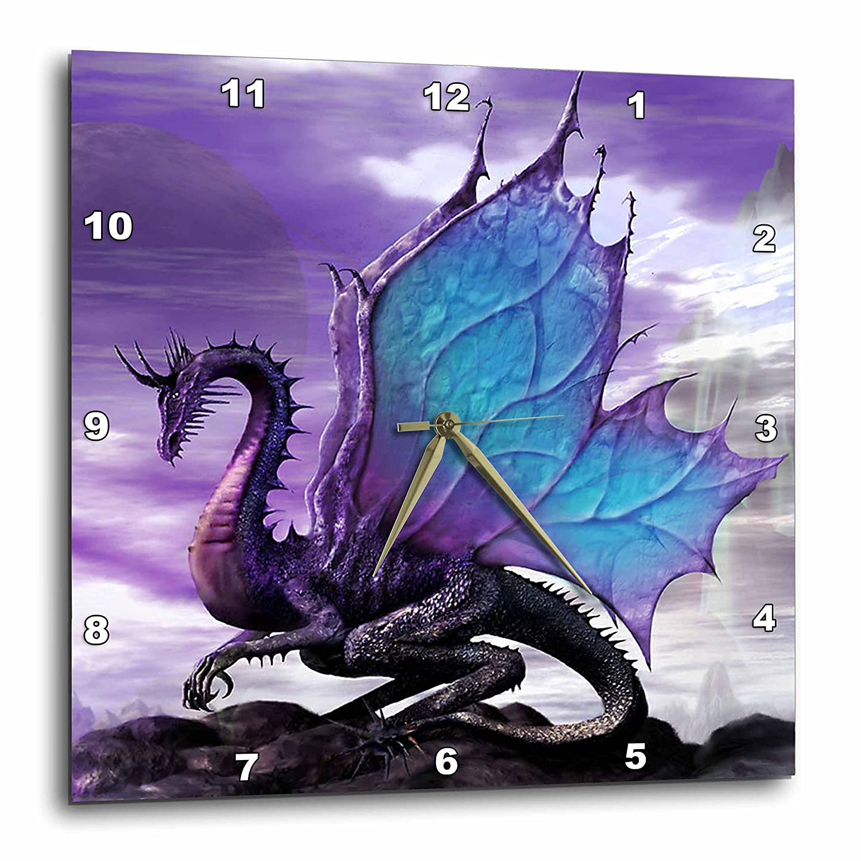 3dRose DPP_4144_3 Fairytale Dragon Wall Clock, 15 by 15-Inch