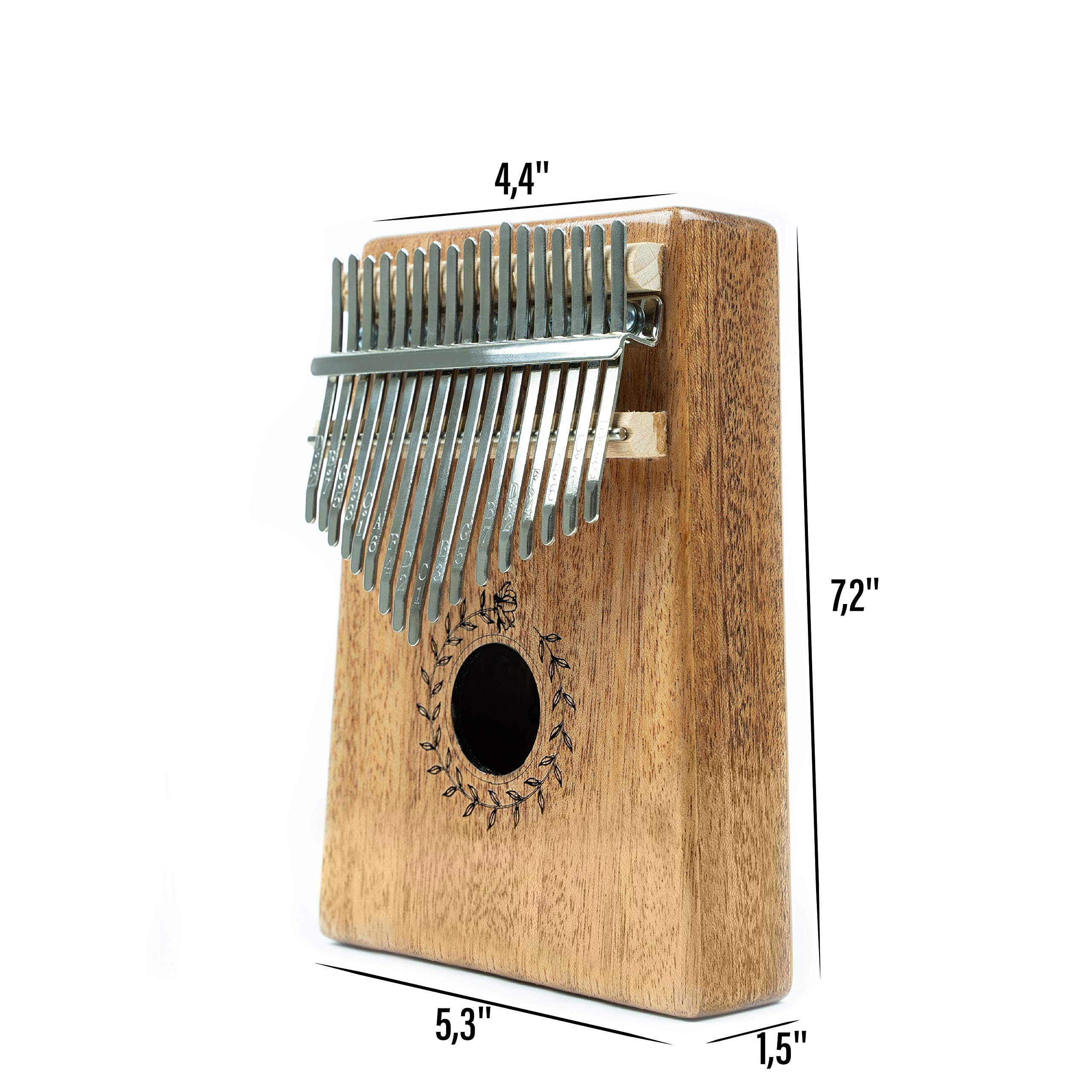 Soundful 17 Key Kalimba Thumb Piano, Solid Mahogany Body Finger Piano, Professional Mbira Musical Instrument with Tuning Hammer and Protective Case by Soundful (Image #2)