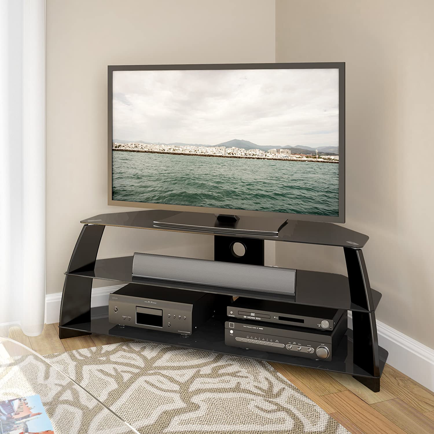 Amazon.com: CorLiving TAP 509 T Taylor Glossy Black TV Stand With Glass  Shelves: Kitchen U0026 Dining