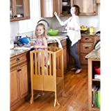Guidecraft Contemporary Kitchen Helper Stool - Honey: Adjustable Height, Folding Counter Step Stool for Kids, Children Safety Tower, Toddlers Learning Furniture Brown
