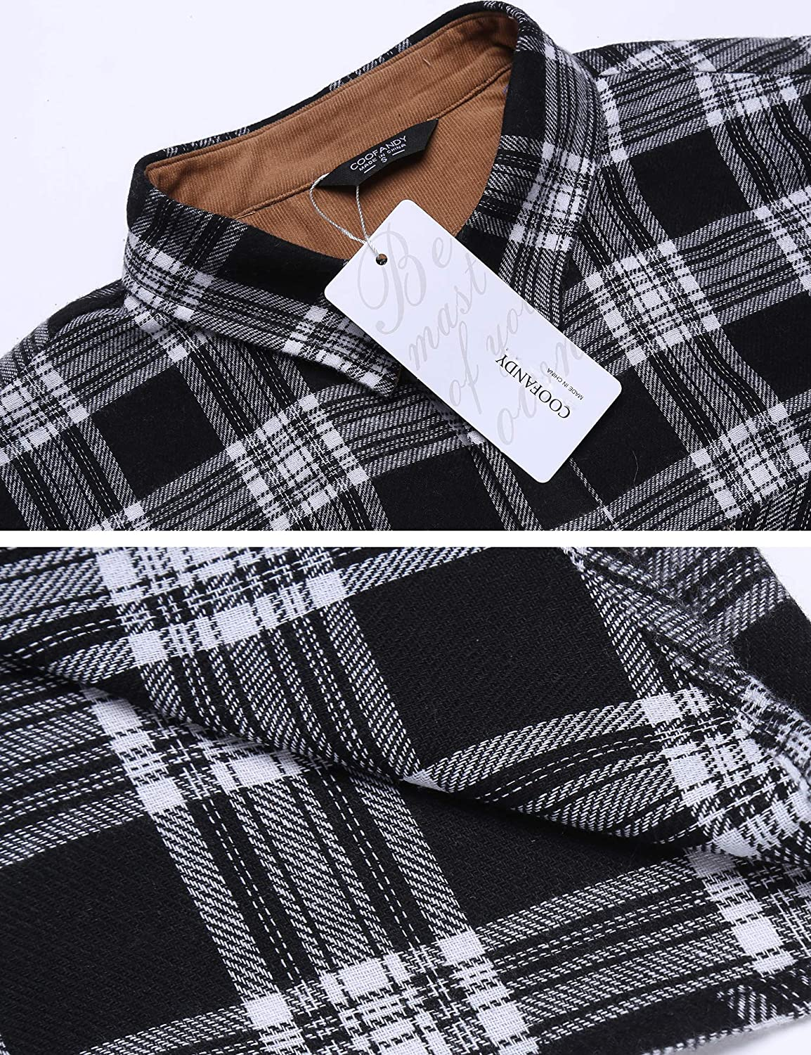 COOFANDY Men/'s Button Up Flannel Shirt Long Sleeve Regular Fit Western Shirts Plaid Casual Outfit