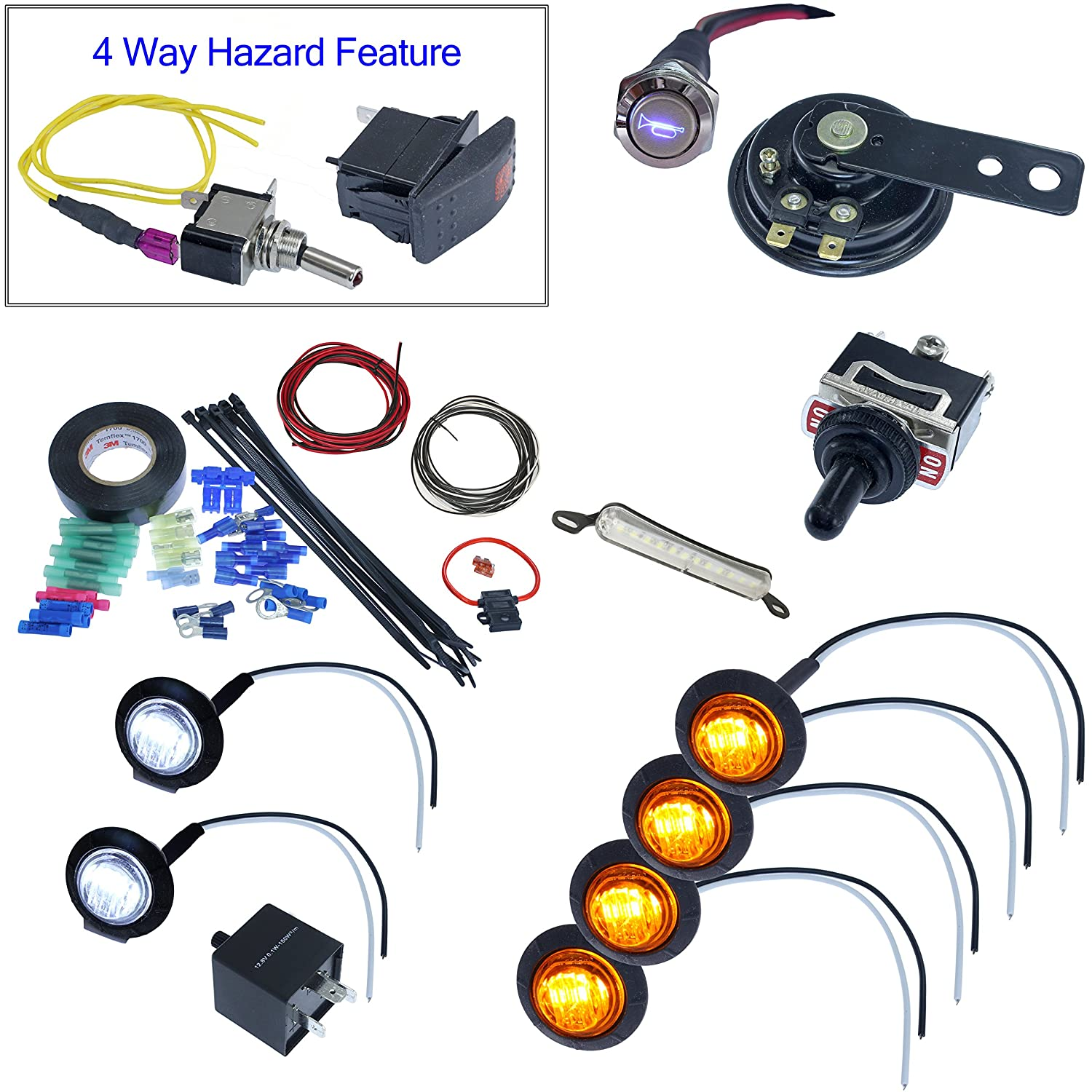 MCSADVENTURES ATV UTV Toggle Switch Turn Signal With Horn And Hardware Street Legal Kit - Round LEDs and License Plate LED Advance MCS Electronics 4332997010