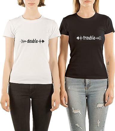VivaMake Pack 2 Camisetas de Mujer Originales para Mejores Amigas con Diseño Double Trouble: Amazon.es: Ropa y accesorios