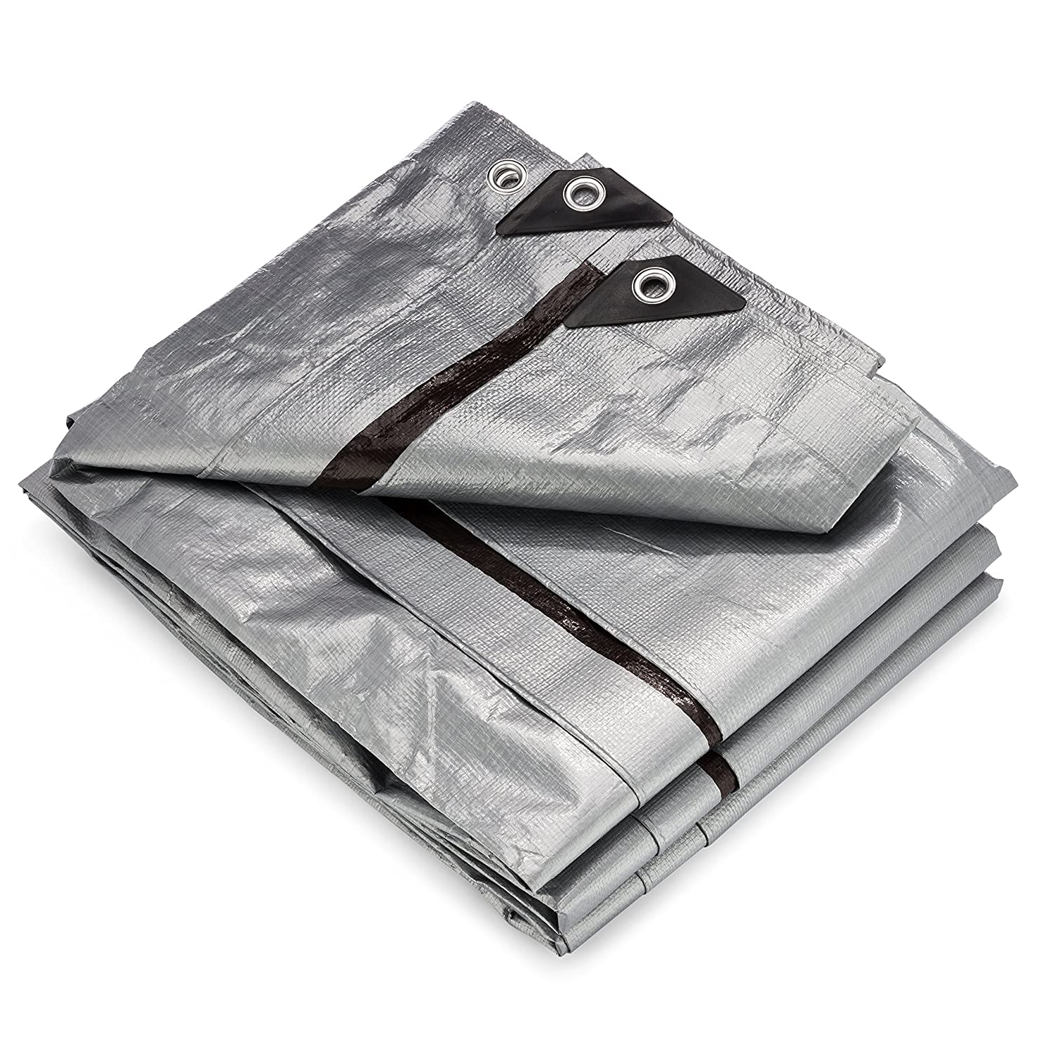 Rain or Sun Outdoor 10 x 12 Foot Patio KING-A-MA-JIGS Reversible, Silver and Brown For Roof Waterproof Plastic Poly 10 Mil Thick Tarpaulin with Metal Grommets Every 18 Inches 10x12 Heavy Duty Tarp Camping