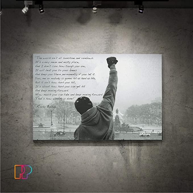Time 4 Picture Rocky Balboa Boxer Pictures Canvas Canvas with Stretcher Quote English