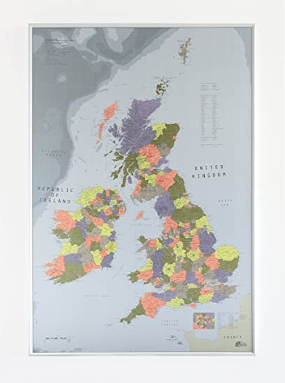 Map Of Uk 1000.The Future Mapping Company 1000 X 700 Mm Magnetic Backed Plastic Coated Map British Isles Wall Map Lemon Orange Thistle Khaki