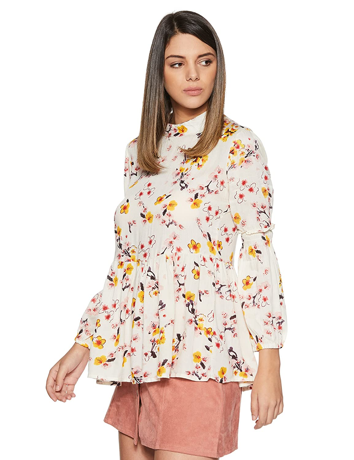Stylevile Women's Printed top with Gathered Sleeve and Flare Body