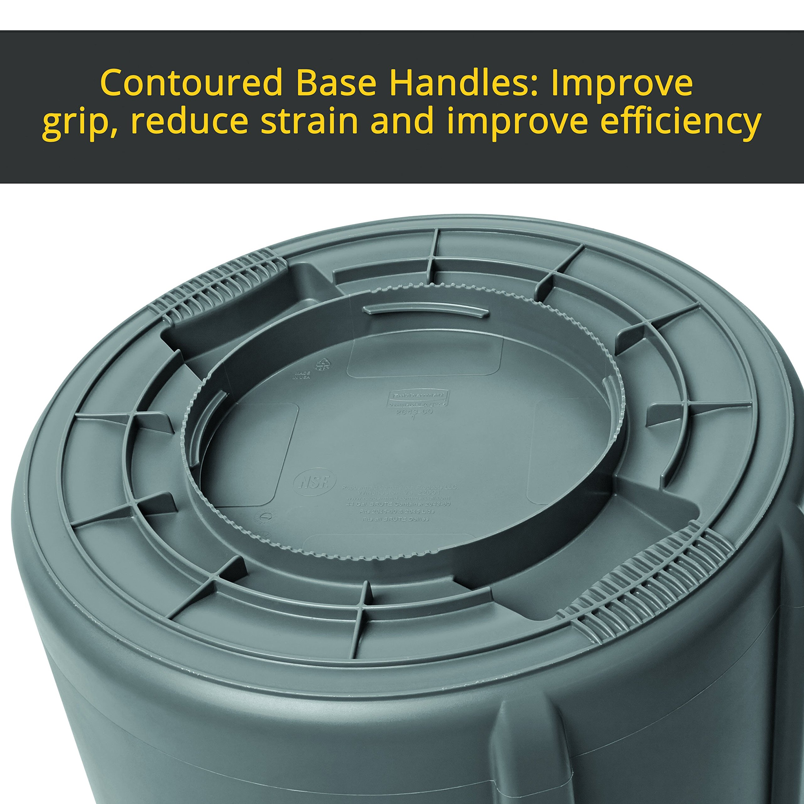 Rubbermaid Commercial Products FG263200GRAY BRUTE Heavy-Duty Round Trash/Garbage Can, 32-Gallon, Gray by Rubbermaid Commercial Products (Image #10)