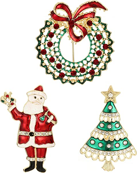 Jewelry Christmas Trees.Jewelry Christmas Brooch Pins Set Holiday Brooch Christmas Tree Snowman Xmas Pin Lot Party Favor Christmas Brooch Pin Set Gifts