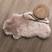 Ashler Soft Faux Sheepskin Fur Chair Couch Cover Beige Area Rug Bedroom Floor Sofa Living Room 2 x 3 Feet