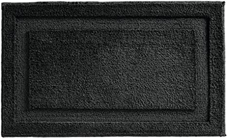 21 x 34 and Kids Bathroom iDesign Microfiber Polyester Stripes Bath Mat Non-Slip Shower Accent Rug for Master Guest Black and Gray