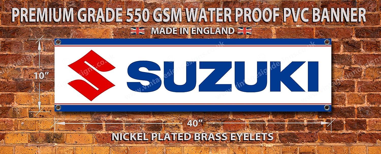 Suzuki Premium en PVC de qualité Garage/atelier Bannière Vintage Sign Designs