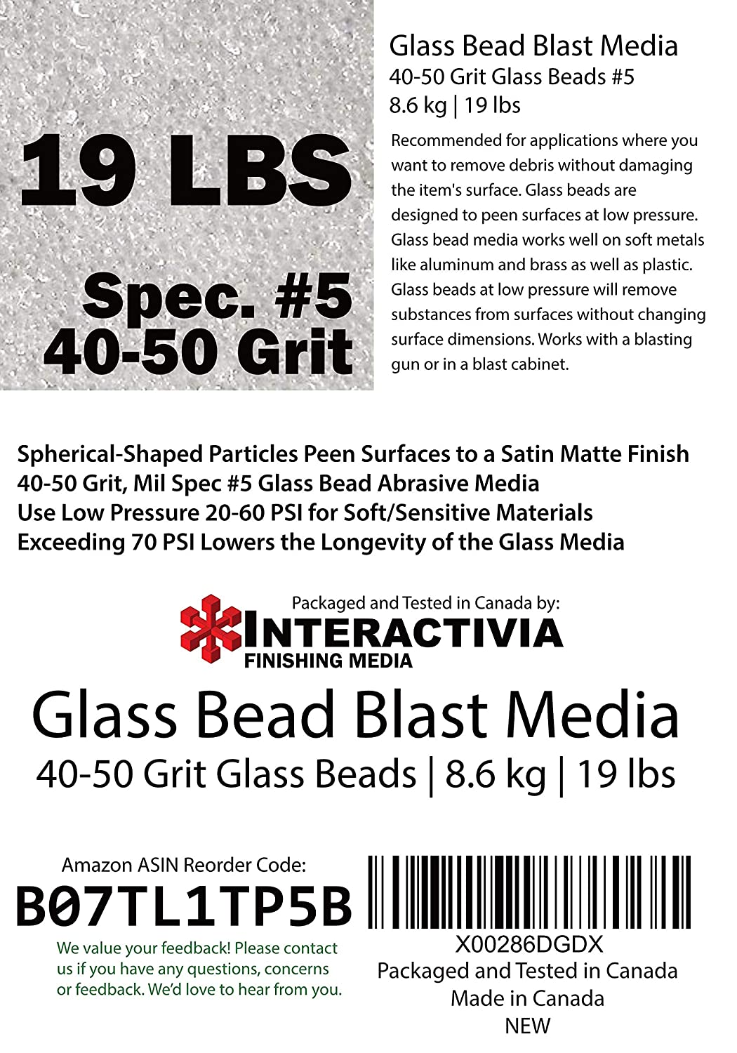 Coarse to Medium Blasting Abrasive Media Large Beads for Peening and Finishing Spec No 5 for Blast Cabinets Or Sand Blasting Guns 40-50 Mesh or Grit 19 lb or 8.6 kg #5 Glass Beads
