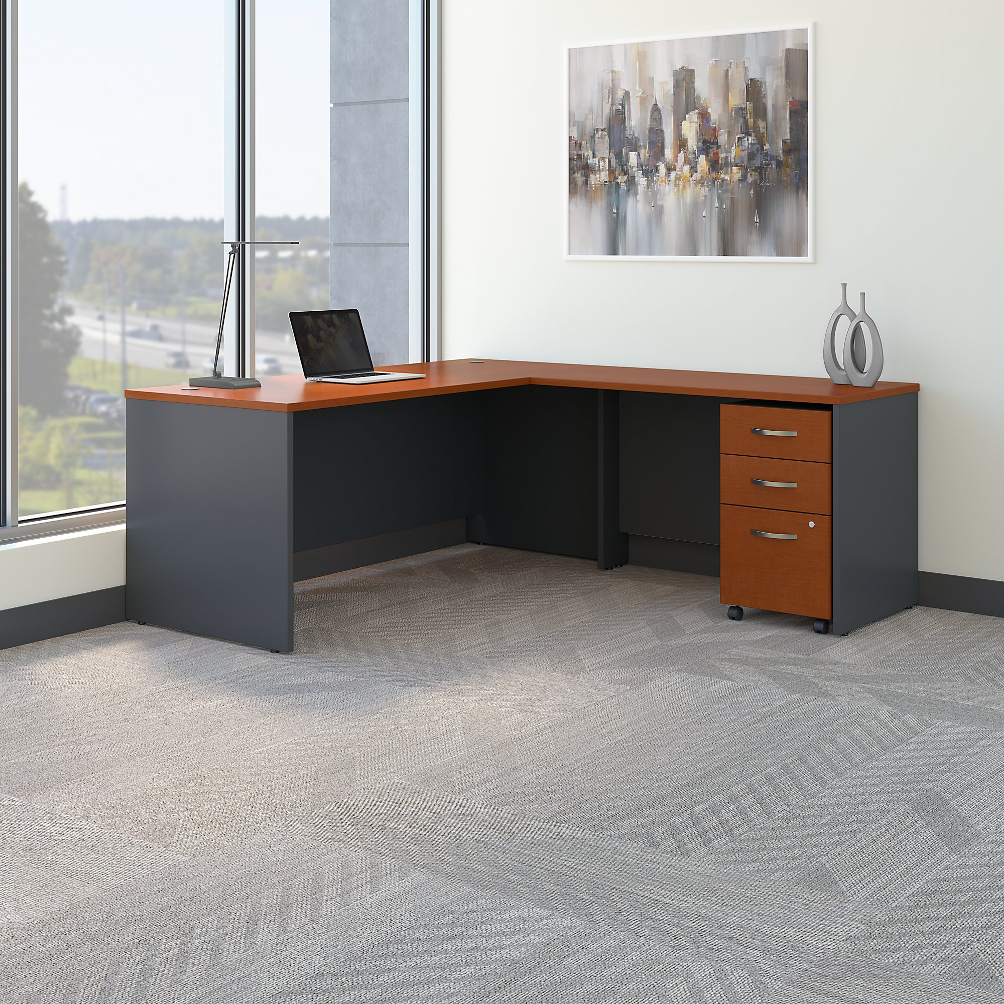 Bush Business Furniture Series C 72W L Shaped Desk with 48W Return and Mobile File Cabinet in Auburn Maple