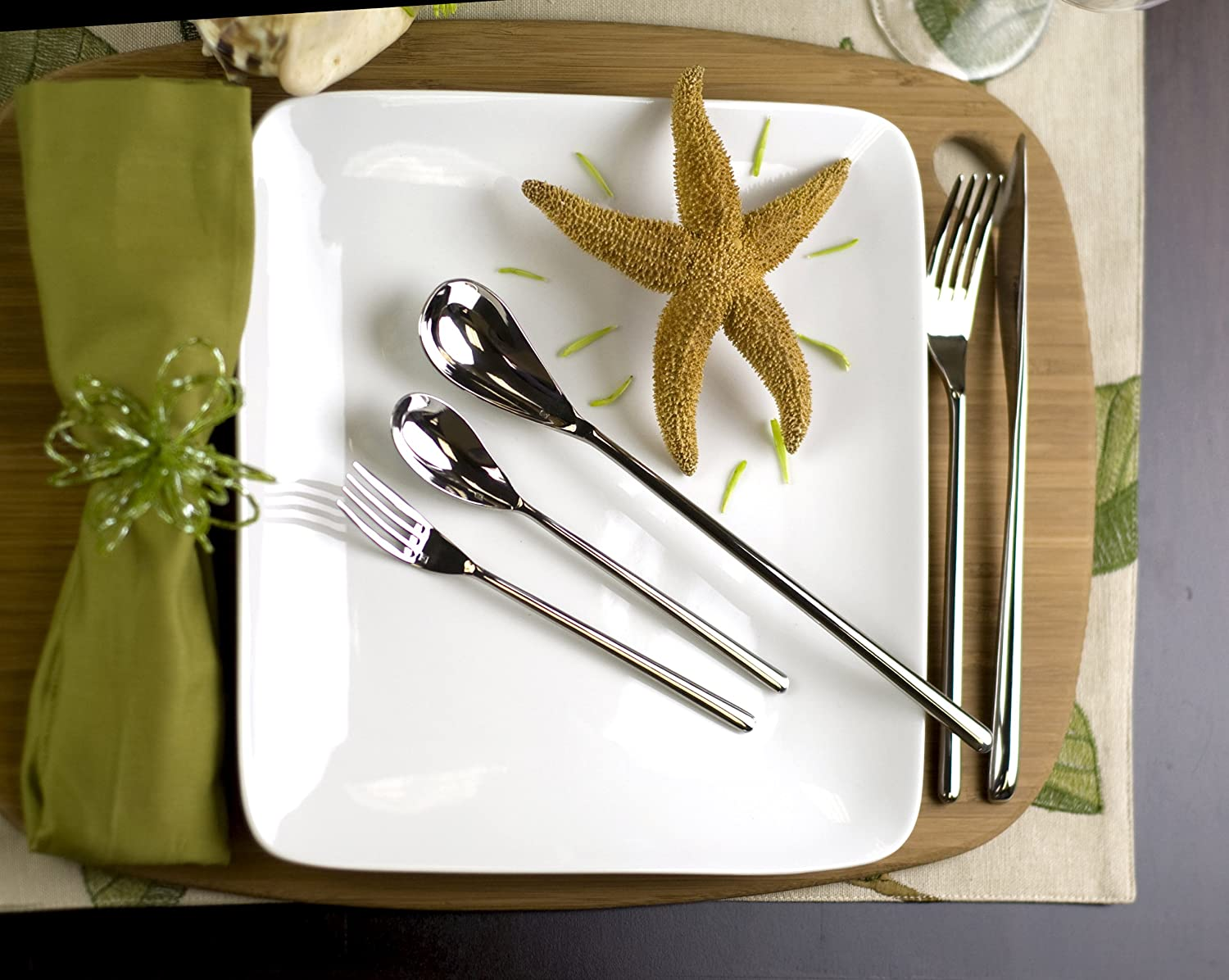 Amazon.com   Fortessa Dragonfly 18/10 Stainless Steel Flatware 5 Piece Place Setting Service for 1 Modern Flatware Flatware Sets & Amazon.com   Fortessa Dragonfly 18/10 Stainless Steel Flatware 5 ...