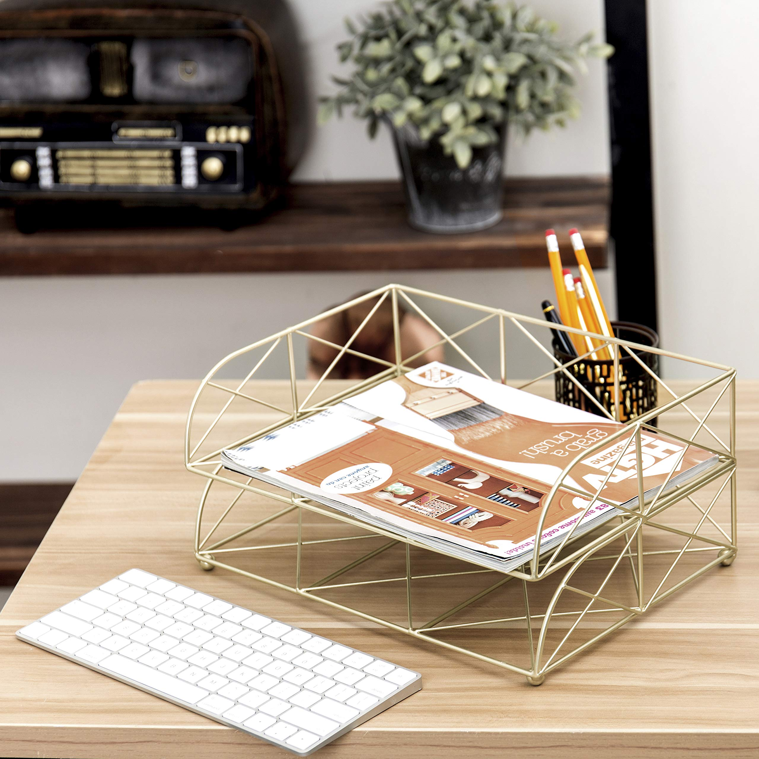 MyGift 2-Tier Geometric Light Gold-Tone Metal Desktop Stacked Letter Tray by MyGift (Image #3)