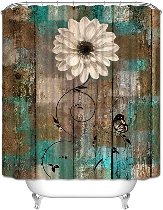 Amazon Com Joyloce Rustic Floral Butterfly Teal Brown Shower Curtain Set With 10 Hooks Polyester Fabric Waterproof Bathroom Accessories Home Decor 60 X 72 Kitchen Dining