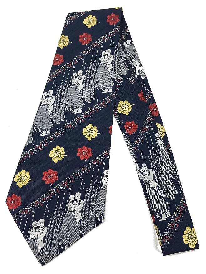 1960s – 70s Men's Ties | Skinny Ties, Slim Ties Dancing Couple Tie - Vintage Jacquard Weave Wide Kipper Necktie Blue Red $16.80 AT vintagedancer.com