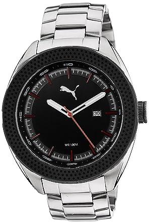 amazon com puma men s pu103261002 silver black stainless steel puma men s pu103261002 silver black stainless steel watch