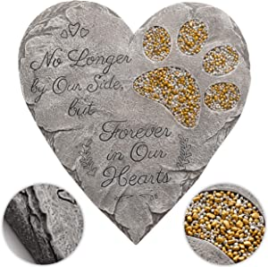Obsi Pet Memorial Stone - Gray | Dog or Cat Garden Stone Heart Paw Print | Headstone Memory Gifts for Pet Loss