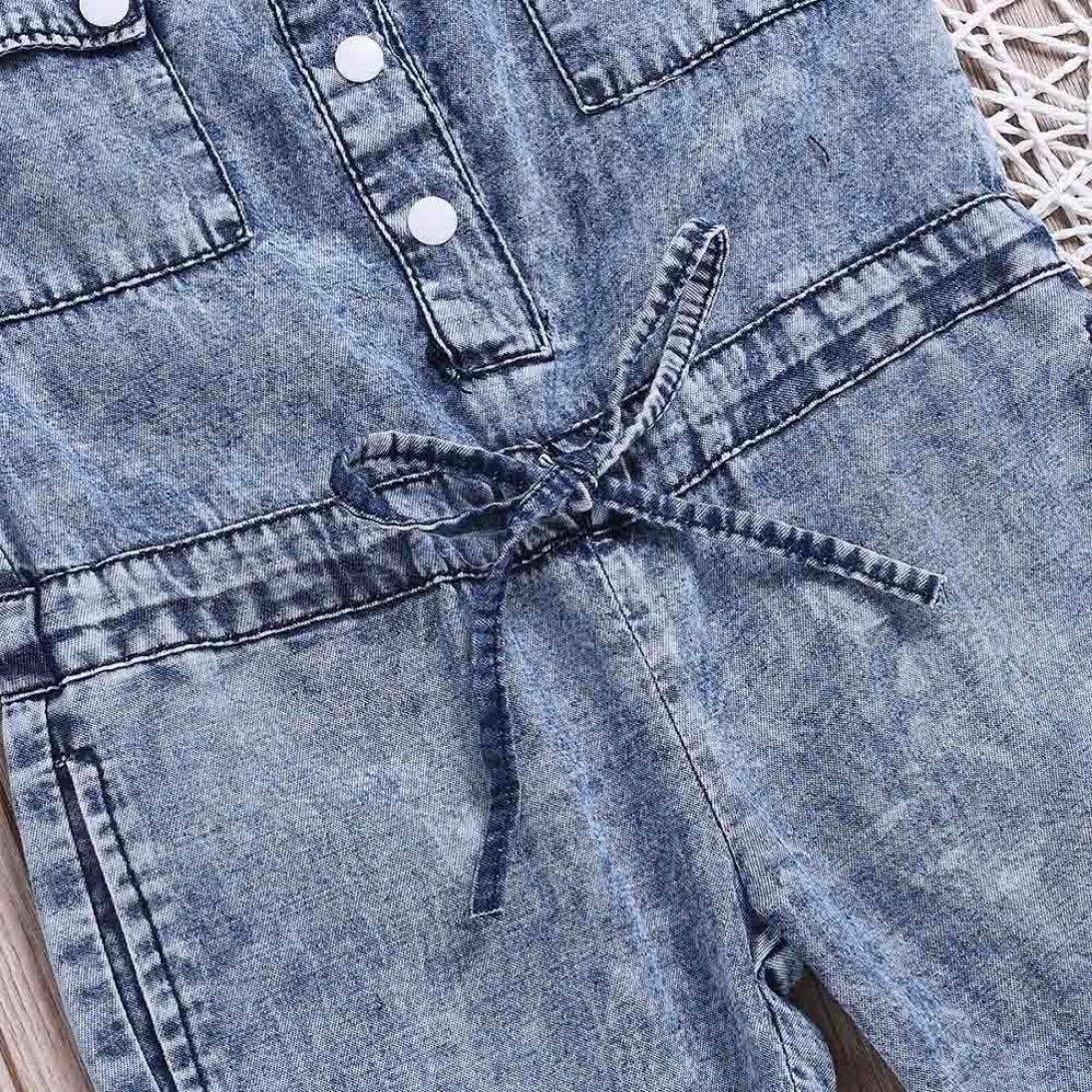 Moginp Overall,Kinder Kind M/ädchen Bowknot Jumpsuit Jeans Denim Strampler Body Freizeit Kleidung