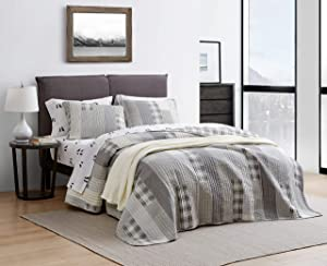 Eddie Bauer Home | Fairview Collection | Bedding Set - 100% Cotton Light-Weight Quilt Bedspread, Pre-Washed for Extra Comfort, King, Grey