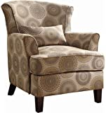 Homelegance 1216F1S Accent Chair with Kidney Pillow, Grey/Brown Medallions Print Fabric