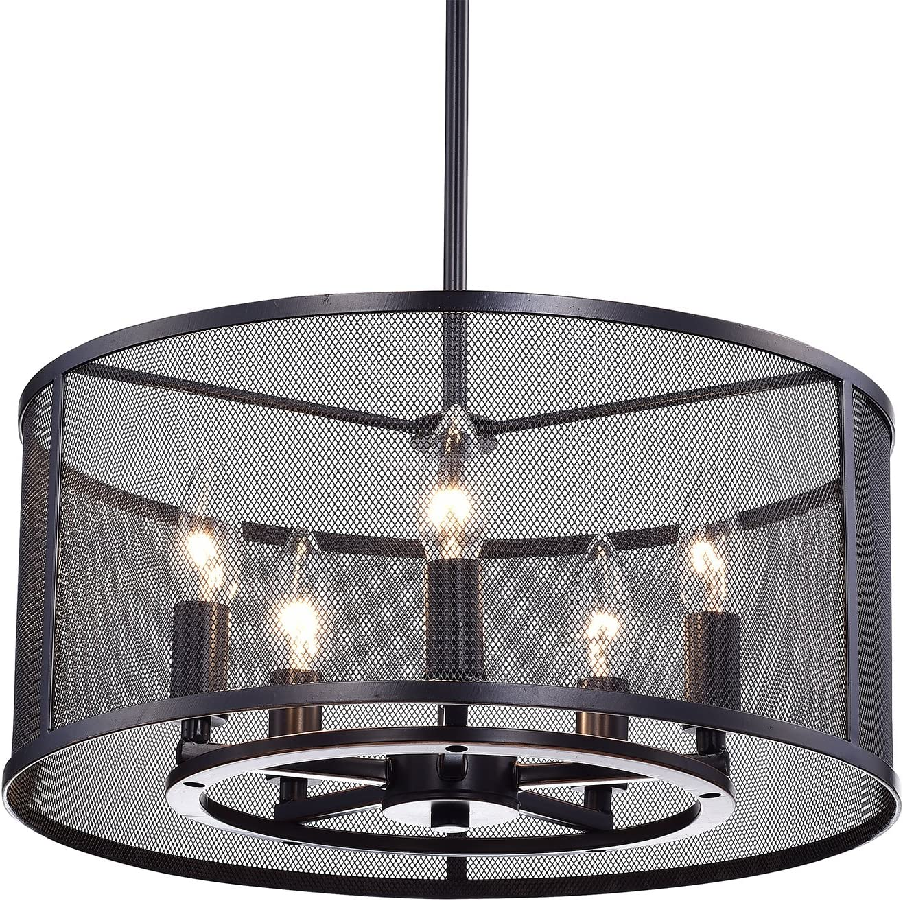 Industrial Mesh Drum Chandelier Shades of Light