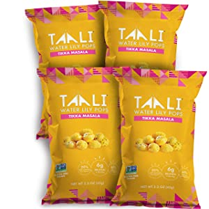 Taali Tikka Masala Water Lily Pops (4-Pack) - Savory Flavor from India   Protein-Rich Roasted Snack   Non GMO Verified   2.3 oz Multi-Serve Bags