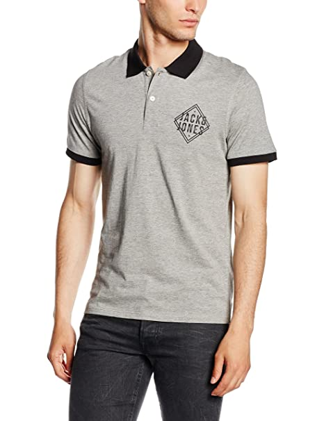 JACK & JONES Flatlock-Polo Hombre Gris Gris (Light Grey Melange ...