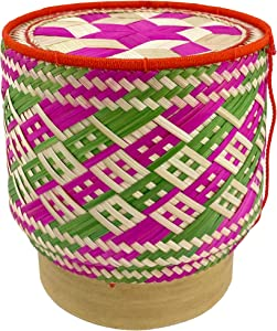 Panwa Bamboo Sticky Rice Serving Basket Handmade 100% Eco-Friendly Thai Kratip Container - Magenta & Lemon Grass Wickerwork with Vegetable Based Dye - Food Safe- Family Size - 5.5 Inch Diameter