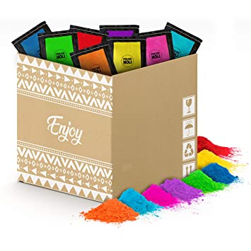 Pack de polvos Holi - 80 bolsas de 100 gramos - 8 Colores